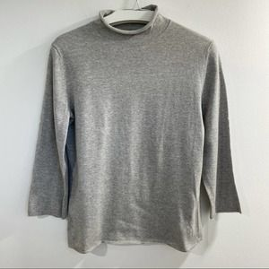 Theory Mock Neck 3/4 Sleeve Gray Sweater size L